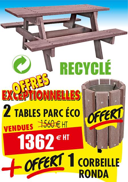 table pique nique recyclée